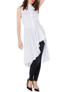 High Low White Shirt Neck Dress - White L