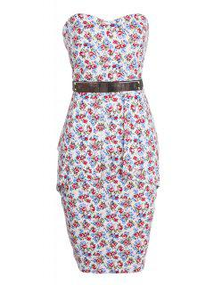 Strapless Belt Tiny Floral Print Sleeveless Dress - Red S