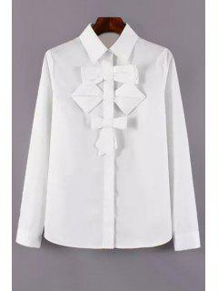 Single-Breasted Bowknot Embellished White Shirt - White L