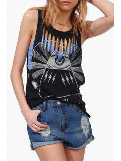 Hollow Out Print Scoop Neck Tank Top - Black S