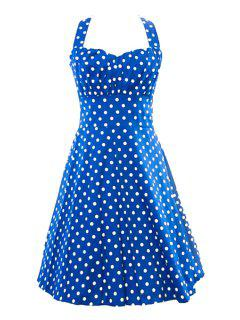Halter Neck Backless Polka Dot Sleeveless Dress - Light Blue M