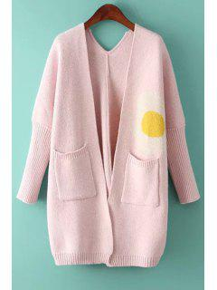Pocket Design Jacquard Loose-Fitting Cardigan - Pink