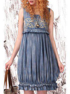 Embroidery Denim Scoop Neck Sundress - Light Blue S