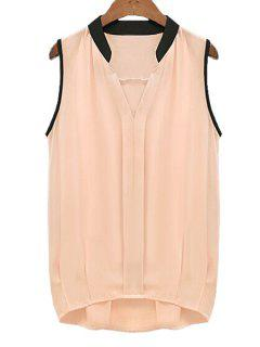 V-Neck Black Edging Ruffle Sleeveless Shirt - Pink L