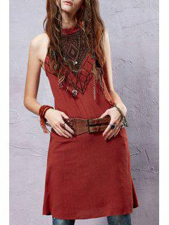 Embroidery Linen Sleeveless Dress - Jacinth M