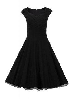 Sweetheart Collar Solid Color Ruffle Dress - Black L