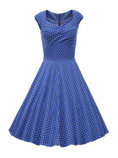 Sweetheart Collar Polka Dot Ruffle Short Sleeve Dress - Light Blue L