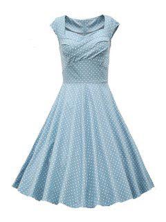 Sweetheart Collar Polka Dot Ruffle Short Sleeve Dress - Light Gray 2xl