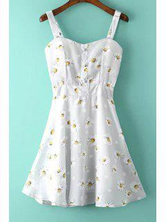 A-Line Flower Print Sundress - White S
