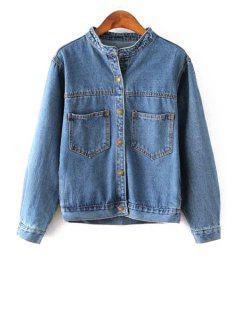 All-Match Single-Breasted Pocket Denim Jacket - Deep Blue L