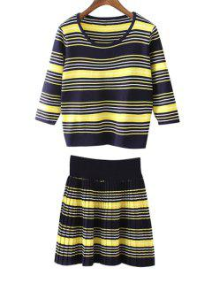 Striped T-Shirt + Knitted Jacquard Skirt Twinset - Blue And Yellow