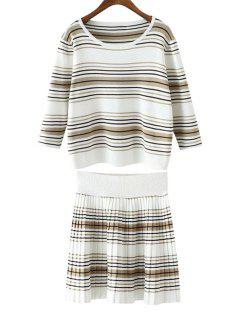 Striped T-Shirt + Knitted Jacquard Skirt Twinset - White And Black