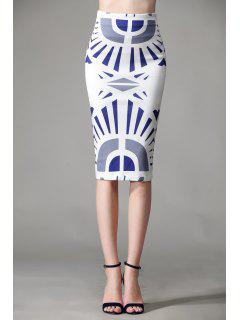 Geometric Print Zipper Fly Skirt - White L