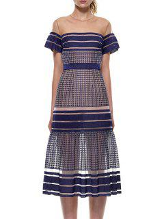 See-Through Stripe Short Sleeve Dress - Purplish Blue M