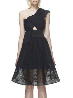 One Shoulder See-Through Hollow Out Dress - Black S