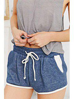 Blue Drawstring Waisted Shorts - Blue Xs