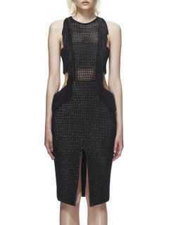 See-Through Slit Backless Sleeveless Dress - Black L