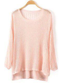 High Low Hem Long Sleeve Knitwear - Pink