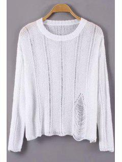 Broken Hole Long Sleeves Sweater - White