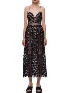 Spaghetti Strap Leaves Pattern See-Through Dress - Black M