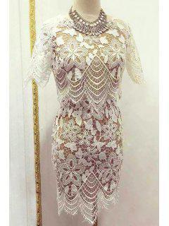 Floral Pattern Short Sleeve Crop Top + Mini Skirt - White M