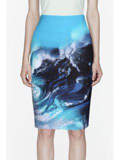 Sea Wave Print Zipper Fly Skirt - S