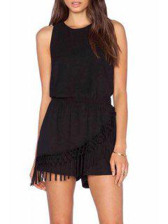 Backless Tassel Splicing Sleeveless Romper - Black S