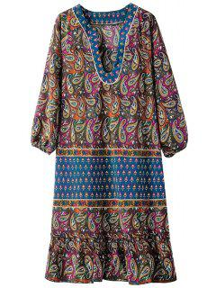 Paisley Print V Neck 3/4 Sleeve Dress - Blue S