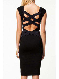 Bandage Cross Splicing Backless Short Sleeve Dress - Black L
