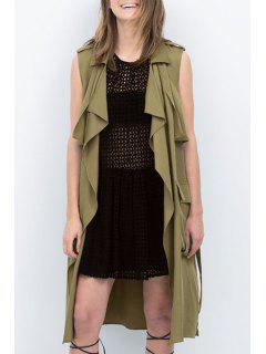 Solid Color Turn-Down Collar Sleeveless Trench - Army Green S