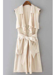 Solid Color Turn-Down Collar Sleeveless Trench - Off-white L