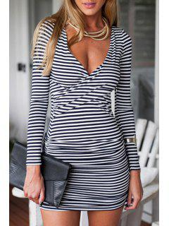 Criss-Cross Ruched Stripes Bodycon Dress - White S