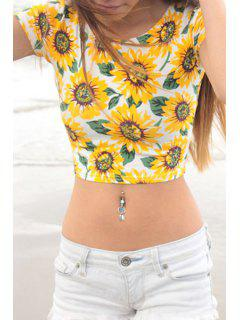 Sunflower Print Short Sleeve Crop Top - Yellow L