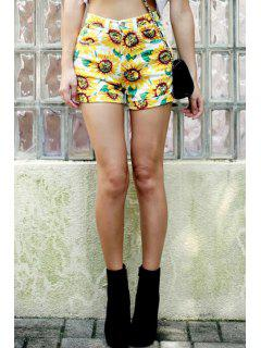 Sunflower Print High Waisted Shorts - Yellow L