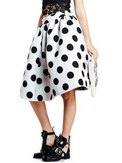 Polka Dot A-Line Ruffled Midi Skirt - White And Black L