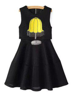 Table Lamp Embroidery A-Line Layered Dress - Black L