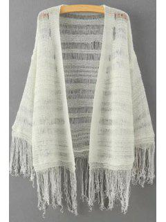 Solid Color Fringe Spliced See-Through Cardigan - Off-white