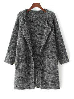 Gray Lapel Neck Long Sleeve Cardigan - Deep Gray
