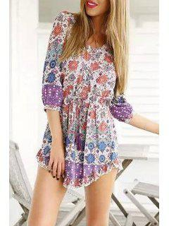 Vintage Print Plunging Neck 3/4 Sleeve Playsuit - Purple L
