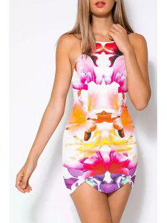 Colored Print Cami Mini Dress - Orangepink M