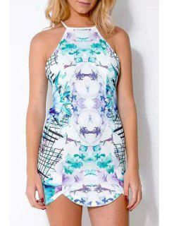 Abstract Print Cami Mini Dress - White And Green M