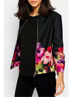 Flower Print Stand Neck Long Sleeve Jacket - Red With Black L