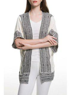Stripe Argyle Pattern Short Sleeve Cardigan - White And Black S