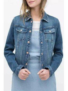 Single-Breasted Bleach Wash Denim Jacket - Blue M