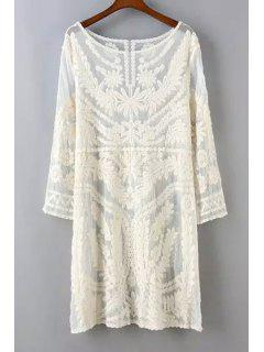 See-Through Leaves Pattern Lace Long Sleeve Dress - Off-white