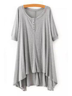 High Low Scoop Neck Half Sleeve Dress - Gray S