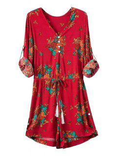 Floral Print V Neck Long Sleeve Playsuit - Red S