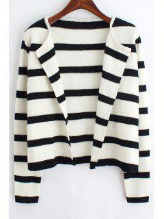 Black And White Long Sleeve Cardigan - White And Black