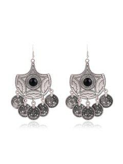 Trendy Beads Round Earrings For Women - Silver
