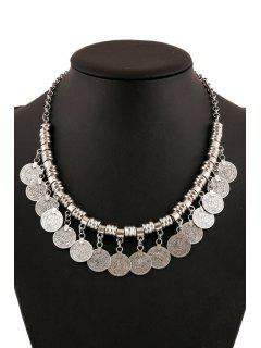 Chic Coin Pendant Necklace For Women - Silver